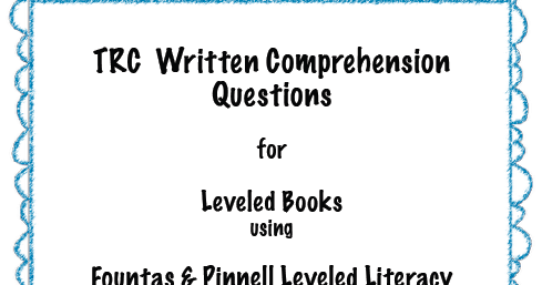 My Heart Belongs in First: TRC Written Comprehension Questions