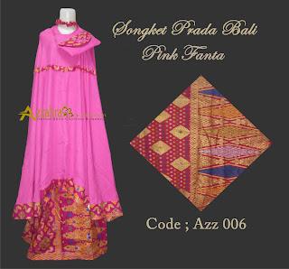 Gambar Mukena Prada Bali  pink fanta dengan tas cantik