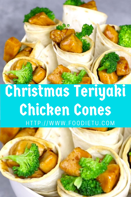 Christmas Teriyaki Chicken Cones