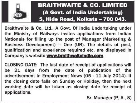 Braithwaite & co. Ltd Recruitment 2014 Various Managers