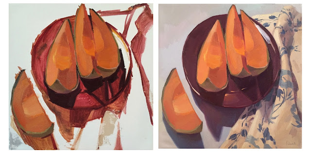 painting in progress cantaloupe by sarah sedwick