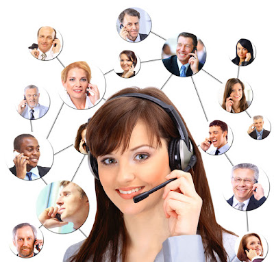 a photo of a woman on the phone surrounded by pictures of others she is talking to