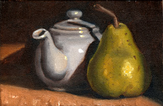 Oil painting of a green pear next to a white porcelain teapot.