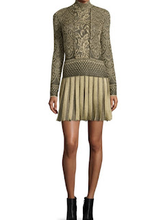 Roberto Cavalli long sleeve plisse skirt mini dress in black and gold jacquard print