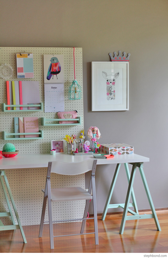 Kids Wooden Table And Chair Set Tan Leather Office Bondville: Flexible Kid's Study Space With Pegboard