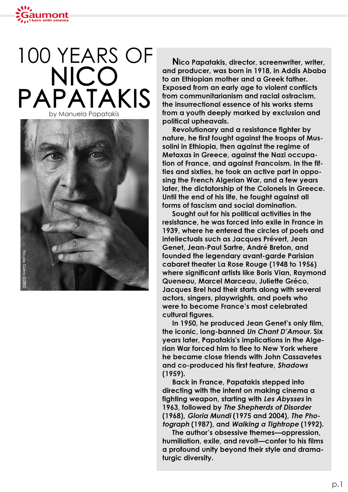100 YEARS OF NICO PAPATAKIS + BIOGRAPHY & FILMS SYNOPSIS (ENGLISH)