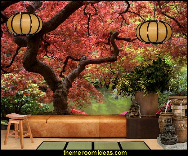 Japanese Garden and Bonsai Tree WALL MURAL ORIENTAL STYLE DECORATING IDEAS