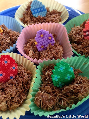 Mini Hama bead Easter egg cupcake toppers