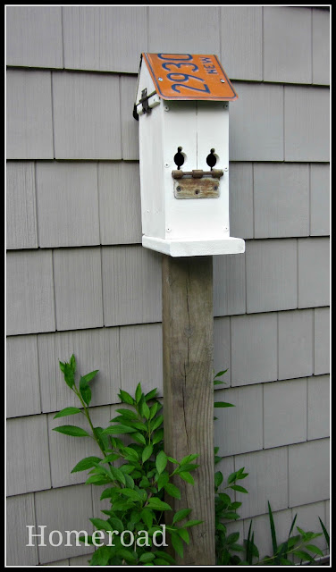 Make your own birdhouse using reclaimed wood and parts.