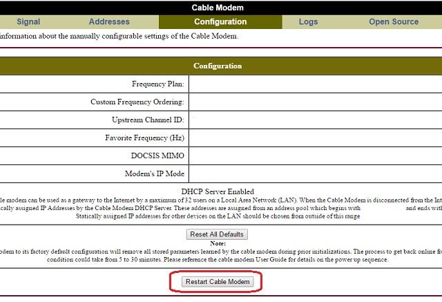 ARRIS (Motorola) SURFboard modem unauthenticated reboot flaw
