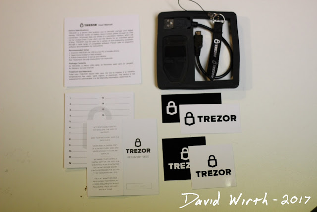 what comes with trezor, contents of box, recovery, pin