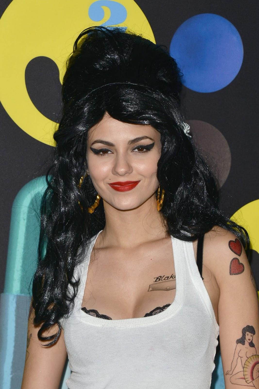 Victoria Justice goes as Amy Winehouse for the Just Jared Halloween Party