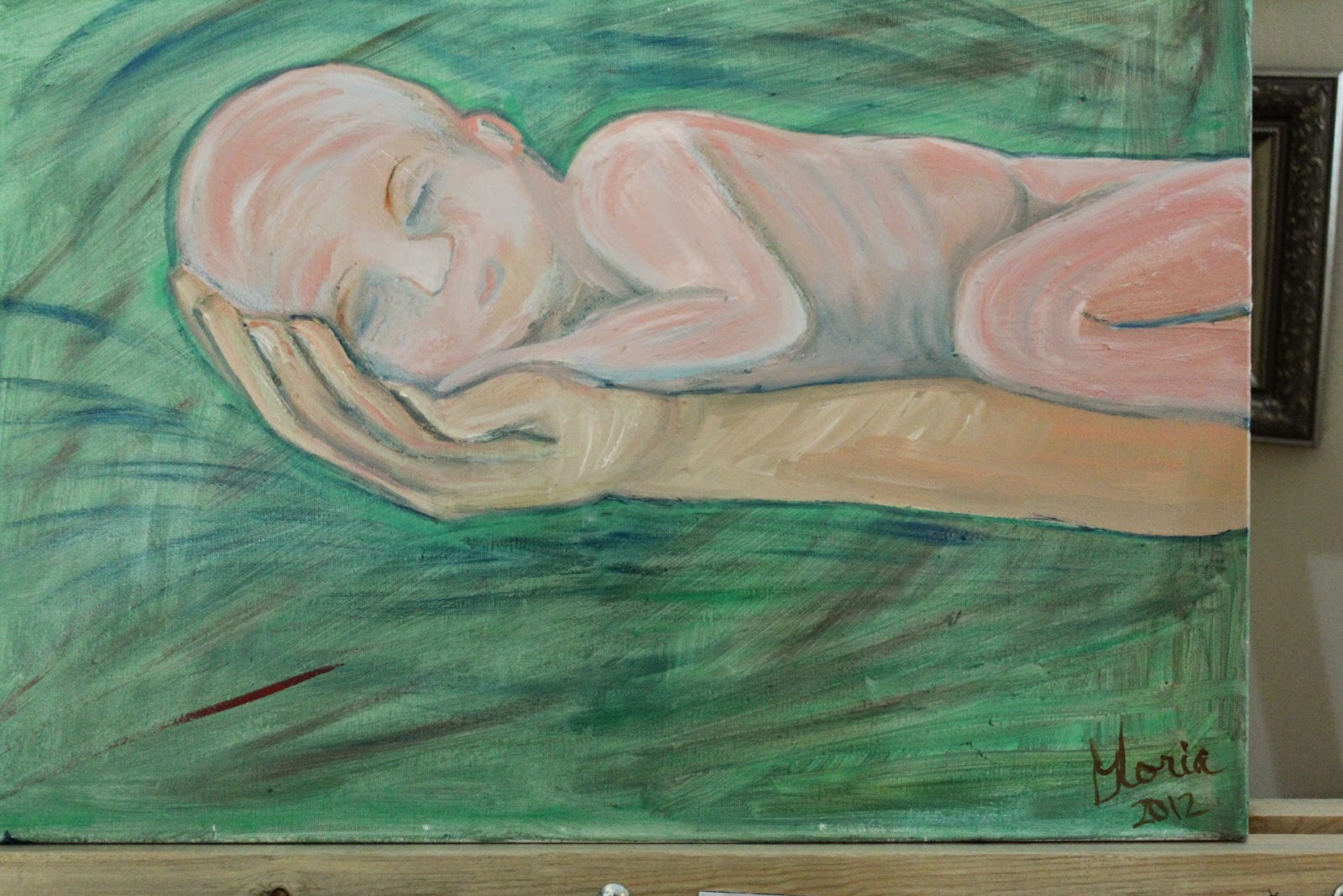"""Baby on daddy's arm"" oil painting by Gloria Poole of Missouri and Georgia"