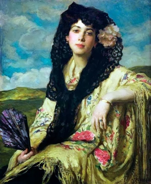 Francis Luis Mora, International Art Gallery, Beauty with a Black Mantilla