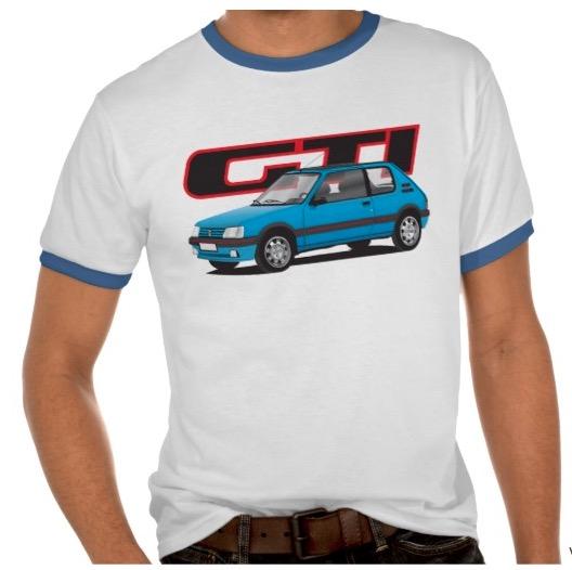 Blue Peugeot 205 GTI t-shirt