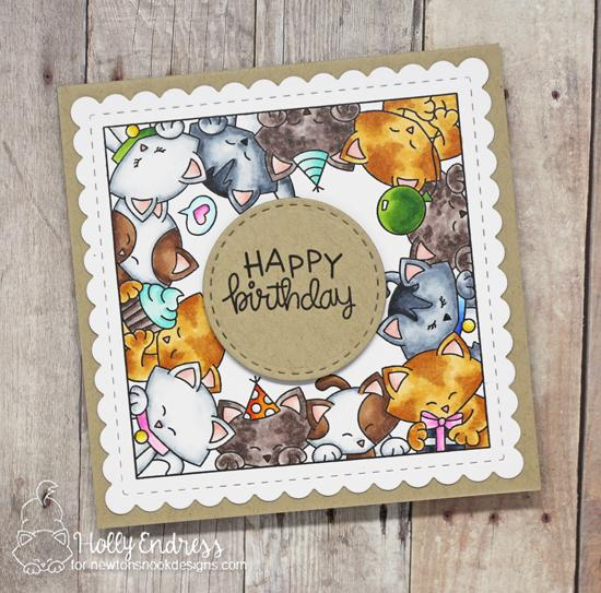 Kitty Birthday Card by Holly Endress | Newton's Block Party Stamp Set and Frames Squared Die Set by Newton's Nook Designs #newtonsnook #handmade