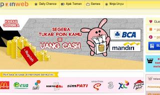Tukarkan poin di poin-web ke uang cash
