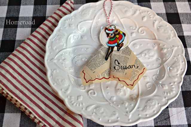 Holiday place settings with a Rudolph tag