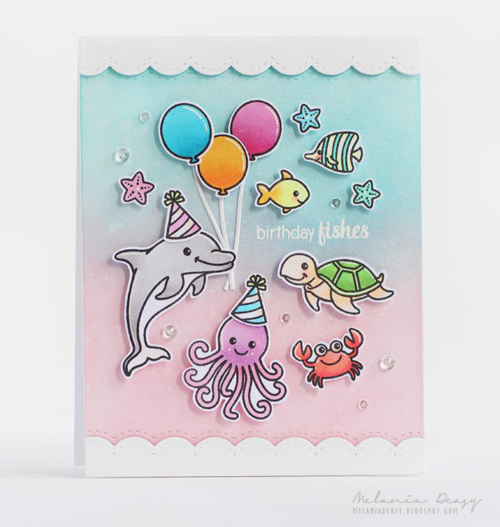 Sunny Studio Stamps: Magical Mermaids & Oceans of Joy Pink Under the Sea Card by Melania Deasy