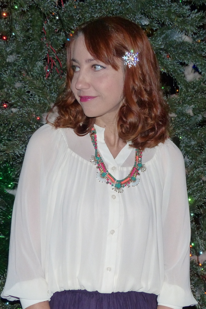 Romantic chiffon blouse with multi colored necklace and sparkling snowflake hair pin