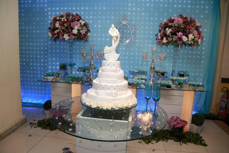 Decorao Azul Tiffany e Rosa  A decorao da nossa festa