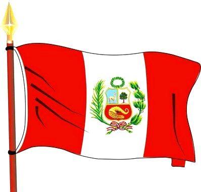 Dibujo de Bandera peruana a color