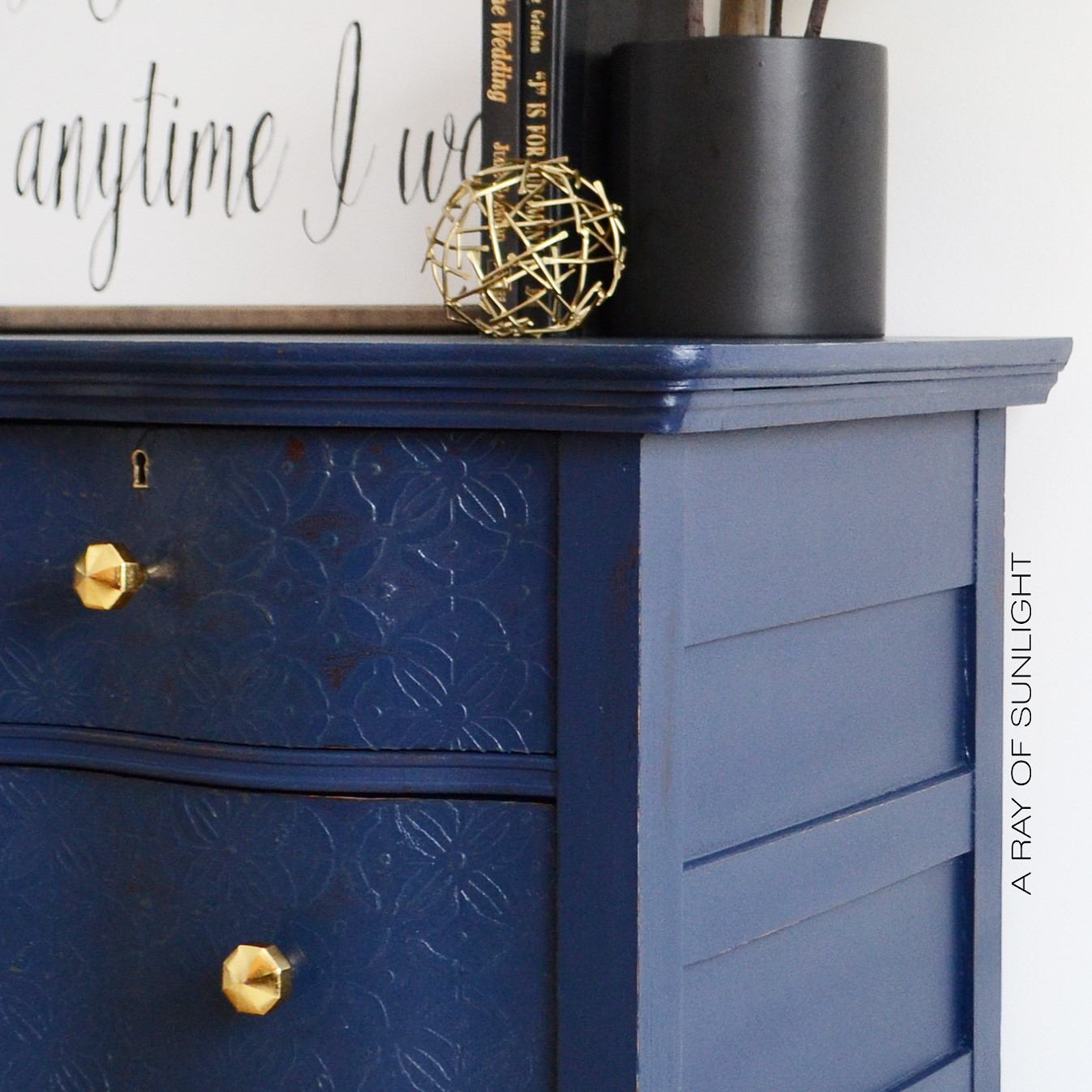Navy Blue Antique Serpentine Dresser with Embossed Drawers