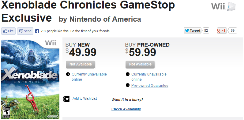 Xenoblade Chronicles GameStop website buy new pre-owned