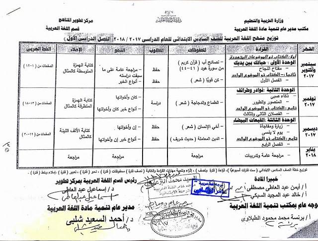 جدول توزيع وخريطة منهج اللغة العربية للصف السادس الابتدائى - الفصل الدراسى الاول و الثانى 2018 PRIM 6