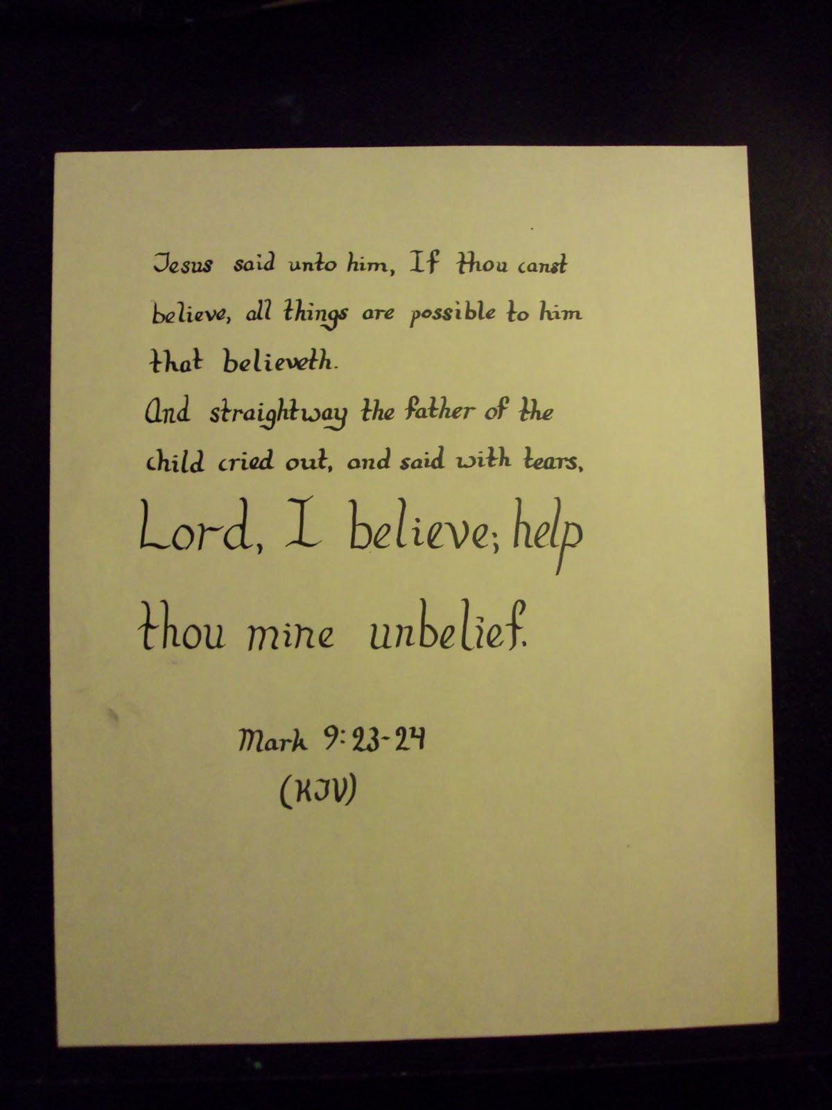 Calligraphy Scripture Quotations Mark 9 23 24
