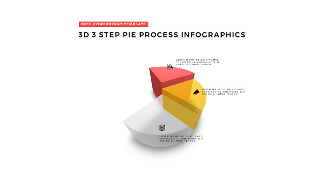 3 Step 3D Pie Chart Design Elements for PowerPoint Templates