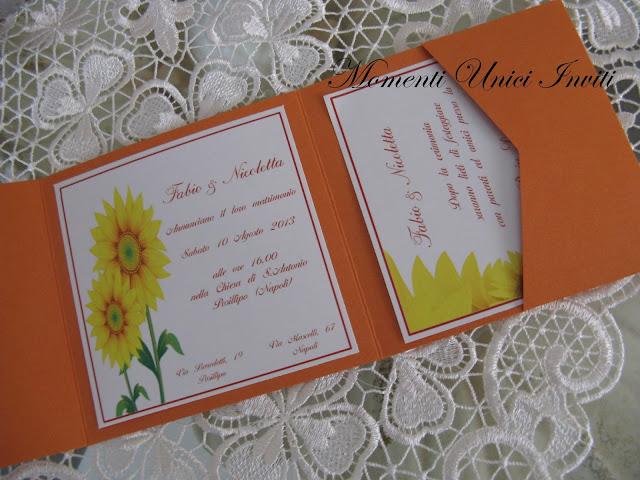 girasole4 Partecipazione pocket modello GirasoleColore Arancio Partecipazioni Pocket