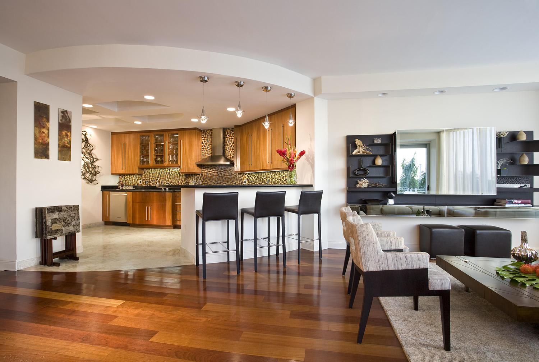 Ark arquitetura integrando pisos - Kitchen and living room ...