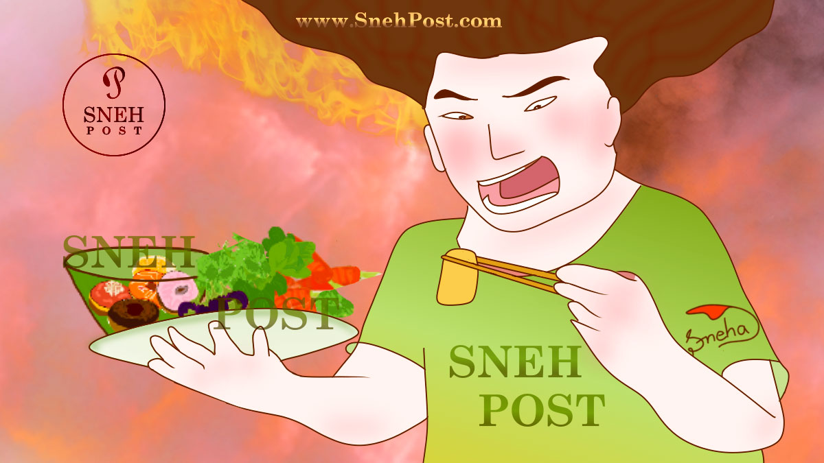Unhealthy eating environment with fiery heating anger in atmosphere: Illustration of an angry lady eating hot food at dinning table and her fiery aggression and anger generating heating fire and smoke around in the surrounding