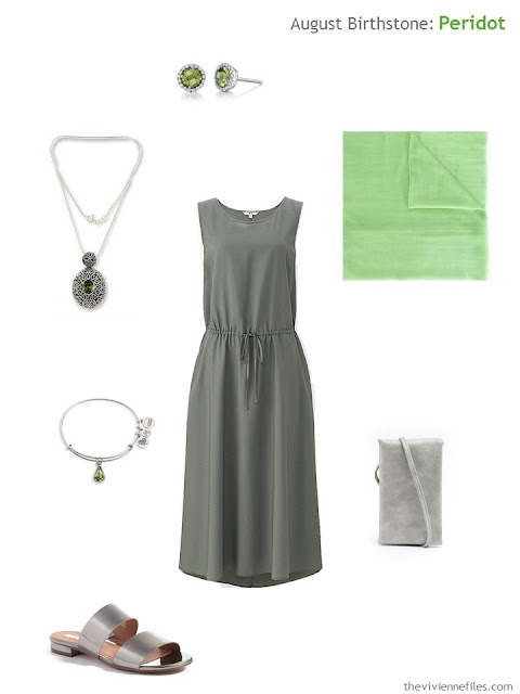 grey dress with peridot accessories