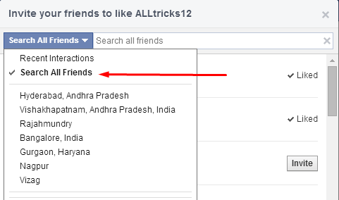 Code To Invite All Your Friends To Like A Page On Facebook
