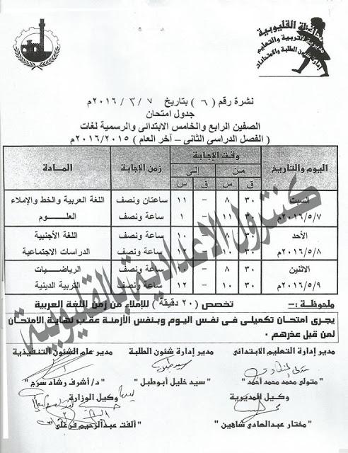 جدول امتحانات الصف الرابع والخامس الابتدائي ( الرسيمة & اللغات ) الفصل الدراسي الثاني بمحافظة القليوبية