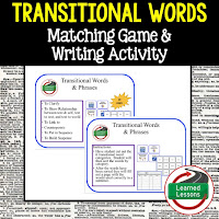 English Game Cards, Transitional Words Game Cards, Transitional Words Test Prep