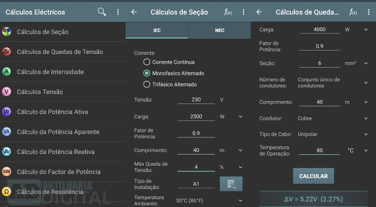 Cálculos Eléctricos - Aplicativo gratuito para engenharia elétrica, eletrônica, robótica e afins!