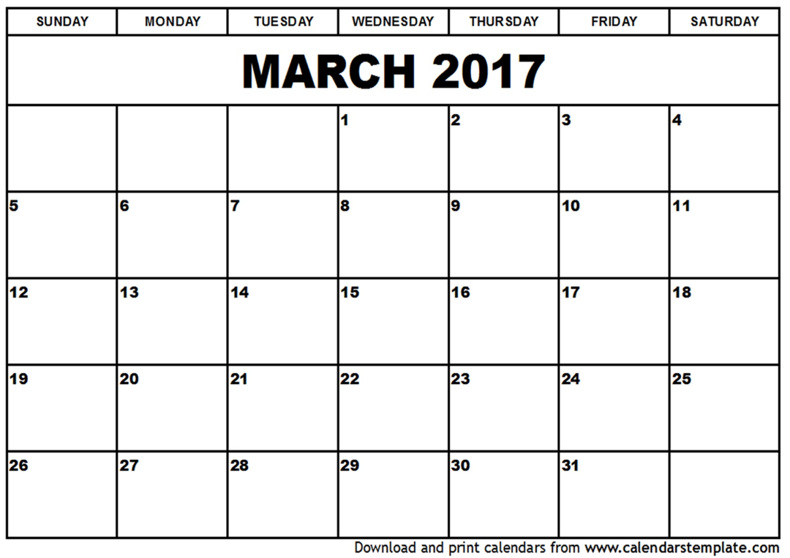 Free Printable Calendar: Free Printable Calendar March
