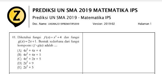 Latihan Soal UN Matematika IPS SMA 2019 (Prediksi Soal Ujian Nasional IPS SMA 2019 Mata Pelajaran Matematika), tomatalikuang.com
