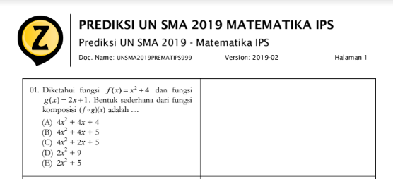 Latihan Soal UN Matematika IPS SMA 2020 (Prediksi Soal Ujian Nasional IPS SMA 2020 Mata Pelajaran Matematika), tomatalikuang.com