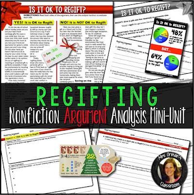 Regifting Nonfiction Argument Analysis Mini Unit www.traceeorman.com