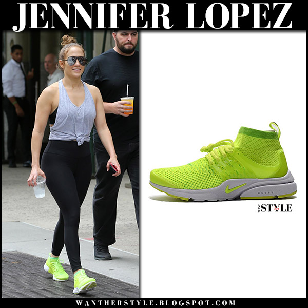 Jennifer Lopez in grey tank top, black leggings and neon yellow sneakers nike air presto gym fashion august 25 2017
