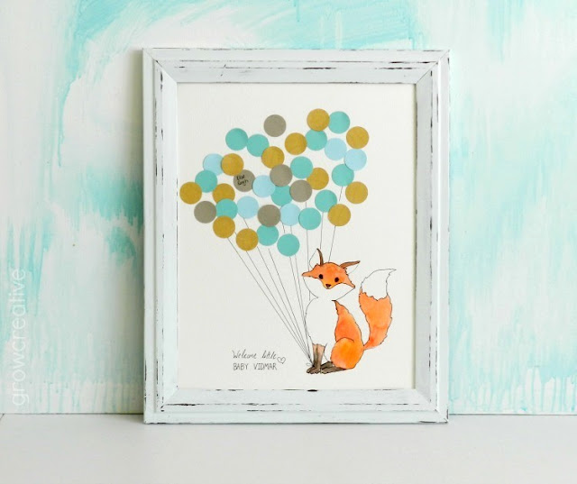 Baby Shower Guest Book- Woodland Creature Fox: growcreativeblog