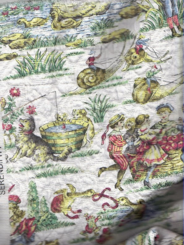 Dollhouse bedspread fabric with one-way design
