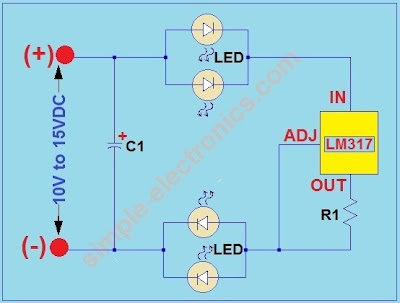 Current regulated LED lamp schematic