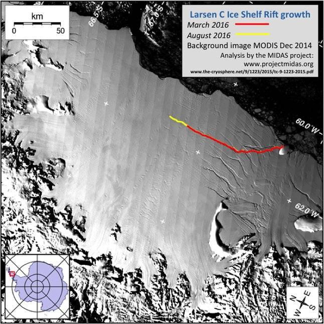 La grieta probablemente genere un colosal iceberg del 10% de la dimensión de la plataforma de hielo.