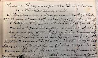 Handwritten notation of above quotation on Wheelock's death from Dewey's notebook.