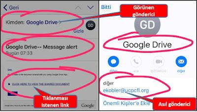 google drive görünümlü, phishing saldırısı, internet dolandırıcılığı